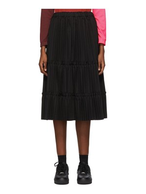 Comme Des Garcons black tiered pleated mid-length skirt