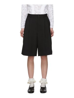 Comme Des Garcons black wool pleat shorts
