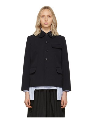Comme des Garcons Comme des Garcons navy wool peter pan collar three-pocket jacket