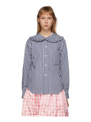 Comme des Garcons Girl navy and white check peter pan collar blouse
