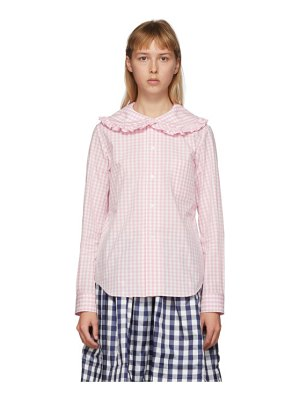 Comme des Garcons Girl pink and white check peter pan collar blouse