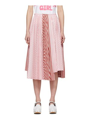 Comme des Garcons Girl pink and white gingham pleated skirt