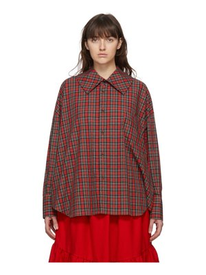 Comme des Garcons Girl red tartan square collar shirt