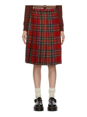 Comme des Garcons Girl red wool tartan midi skirt