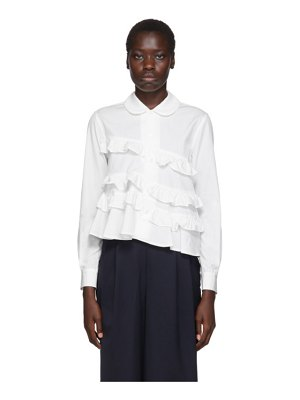 Comme des Garcons Girl white spiral seam ruffle shirt