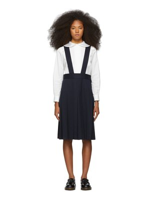 Comme des Garcons Girl navy wool pleated suspender skirt