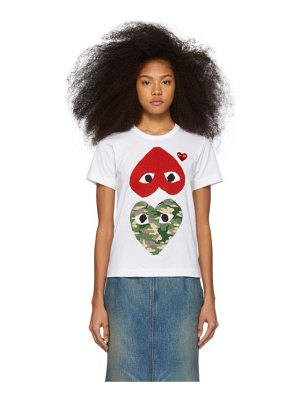Comme Des Garcons PLAY and red camo hearts t-shirt