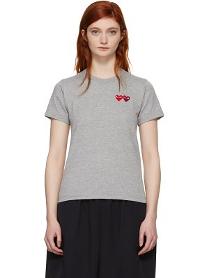 Comme Des Garçons Play and Red Double Heart T-shirt