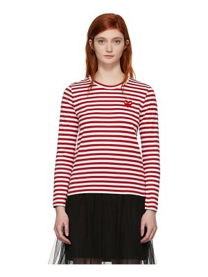 Comme Des Garçons Play and White Long Sleeve Striped Heart T-shirt