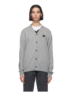Comme Des Garcons PLAY and black wool mens fit heart patch v-neck cardigan
