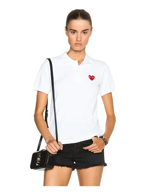 Comme Des Garcons PLAY Cotton Polo with Red Emblem