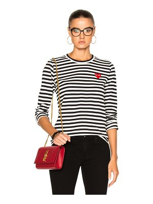 Comme Des Garcons PLAY Cotton Red Emblem Stripe Tee
