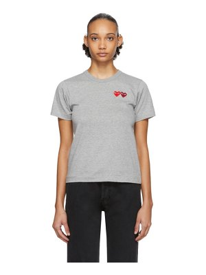 Comme Des Garcons PLAY grey and red double heart t-shirt