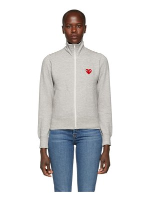 Comme Des Garcons PLAY grey heart patch zip-up jacket