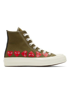 Comme Des Garcons PLAY khaki converse edition multiple heart chuck 70 high sneakers
