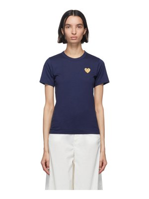 Comme Des Garcons PLAY navy and gold heart patch t-shirt