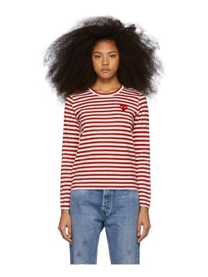 Comme Des Garcons PLAY red and white striped heart patch long sleeve t-shirt