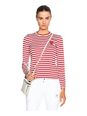 Comme Des Garcons PLAY Striped Cotton Red Emblem Tee