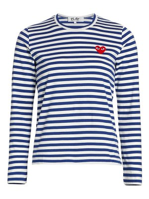 Comme Des Garcons PLAY striped red heart long-sleeve shirt