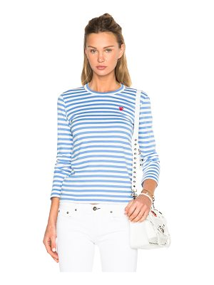 Comme Des Garcons PLAY Striped Small Emblem Tee