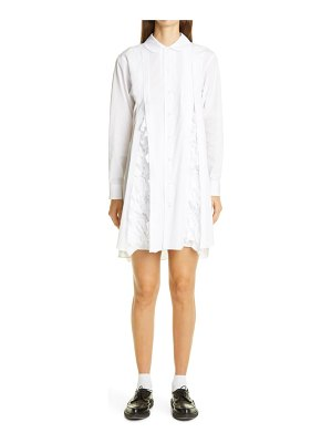 Comme Des Garcons pleated ruffle long sleeve poplin shirtdress