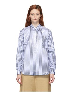 Comme des Garcons Shirt blue and white laminated finish stripe shirt
