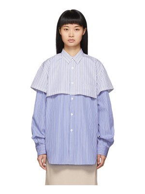 Comme des Garcons Shirt blue and white striped double layer shirt