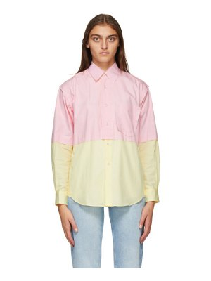 Comme des Garcons Shirt pink and yellow poplin colorblock shirt