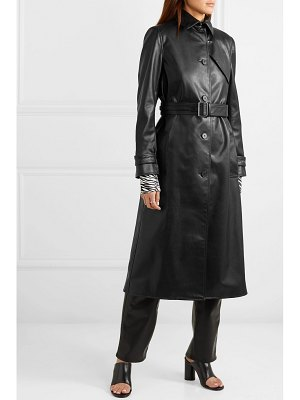 Commission belted faux leather trench coat