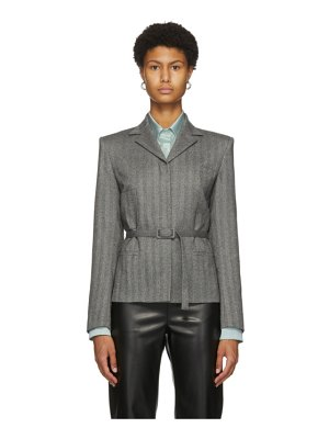 Commission grey cinched four-button blazer