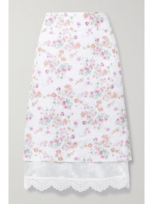 Commission layered floral-print woven skirt