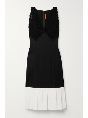 Commission paneled crocheted cotton, crepe de chine and twill dress