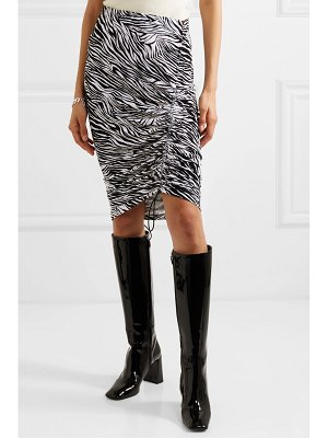 Commission ruched zebra-print stretch-jersey skirt