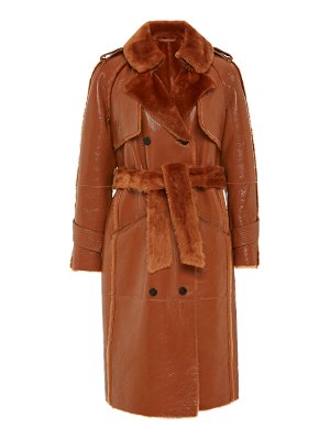 Common Leisure the one shearling-trimmed patent effect trench coat