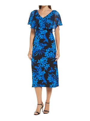 CONNECTED APPAREL floral cape sleeve midi dress