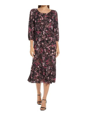 CONNECTED APPAREL floral long sleeve stretch knit dress