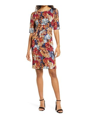 CONNECTED APPAREL floral paneled stretch crepe a-line dress