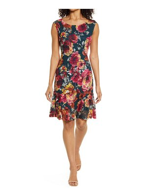 CONNECTED APPAREL floral print lace & ruffle sheath dress