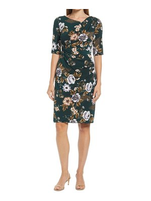 CONNECTED APPAREL floral ruched stretch knit dress