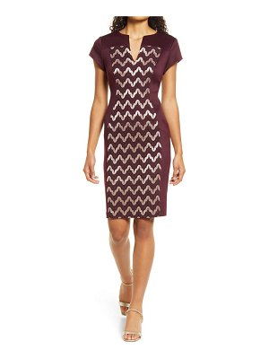 CONNECTED APPAREL metallic lace inset sheath dress