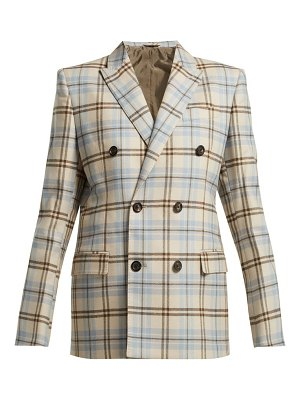 CONNOLLY double breasted checked wool blend blazer