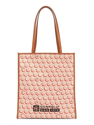CONNOLLY geometric print canvas and leather tote bag