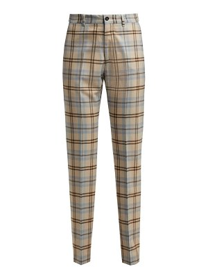 CONNOLLY High Waisted Checked Wool Blend Trousers