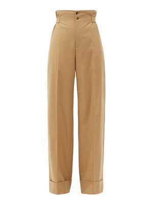 CONNOLLY sash-waist wool-blend twill wide-leg trousers