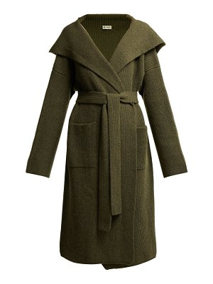 CONNOLLY tie waist hooded cashmere cardigan