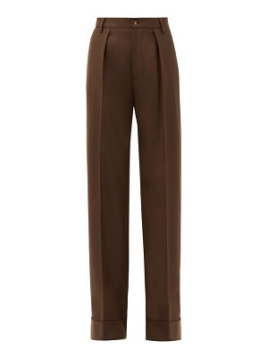 CONNOLLY turn-up cuff wool-blend wide-leg trousers