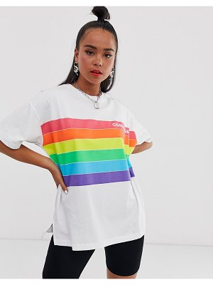 Converse pride white and rainbow t-shirt