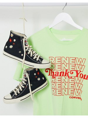 Converse renew thank you printed t-shirt in fluro green