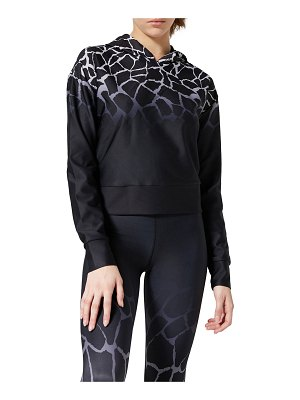 COR designed by Ultracor Giraffe Print Cropped Pullover Hoodie