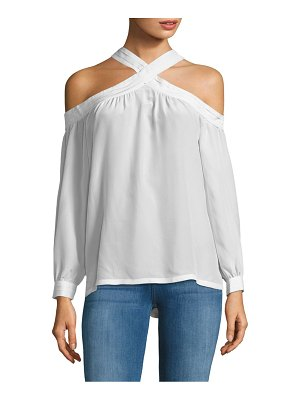 Cosette Cold-Shoulder Silk Blouse